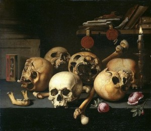 Aelbert Jansz. van der Schoor, Vanitas Still Life with Skulls on a Table, 1660
